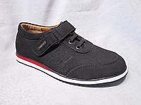 Туфли-кроссовки оптом детские 32-37 р., шнурки, липучка, черный замш