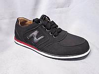 Кроссовки оптом детские 32-37 р., на шнурках, нашивка N, черный замш