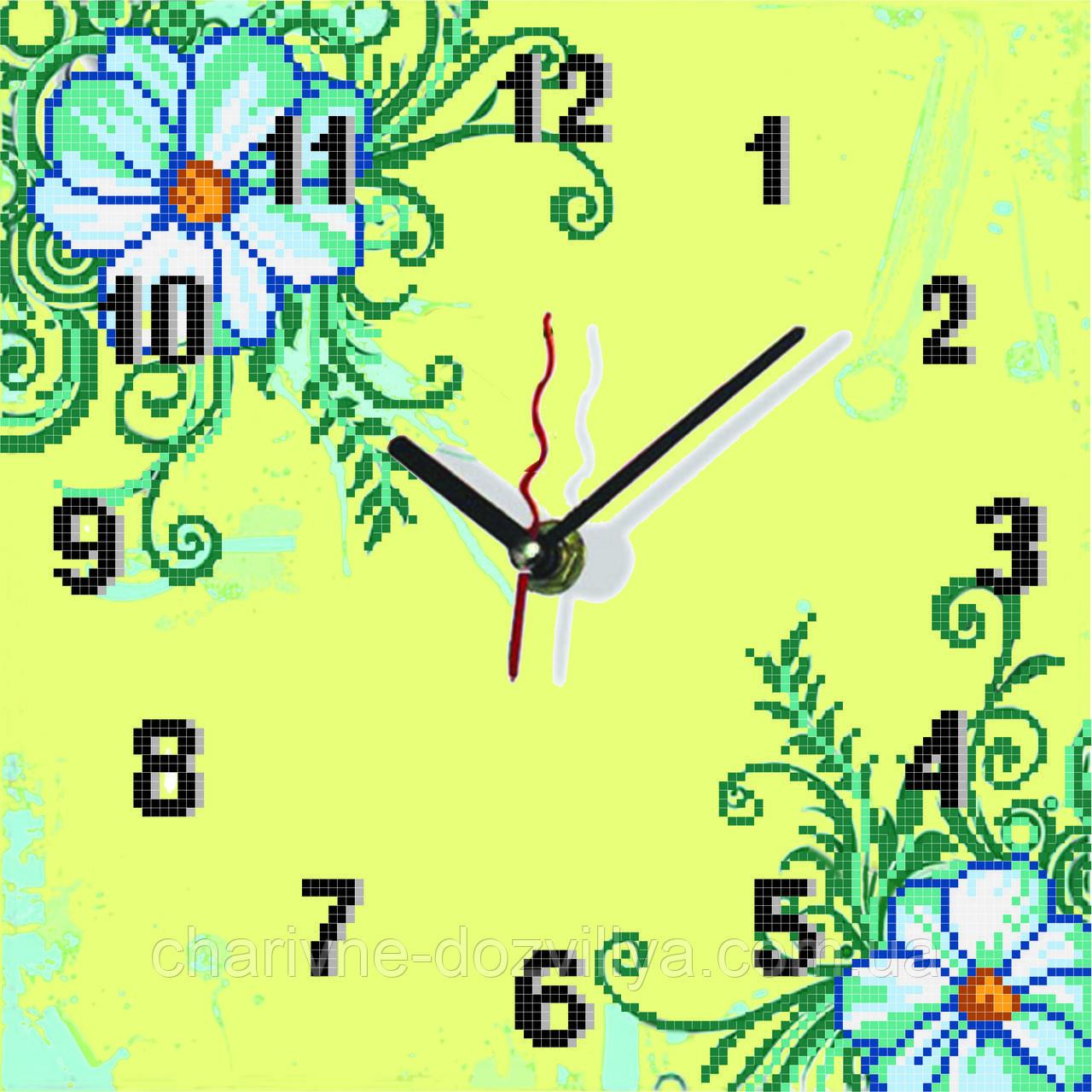 """Схема для вышивки бисером на атласе Часы для кухни """"Ромашки""""(лимонный  фон )"""
