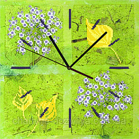 """Схема для вышивки бисером на атласе Часы для кухни """"Гербарий"""""""