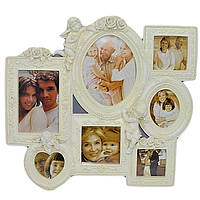 Фоторамка-коллаж с ангелами на 7 фотографий 37х41 см бежевого цвета