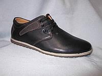 Туфли оптом детские 32-37 р., черные с коричневой деталью, на шнурках