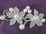 Веточка, веночек под серебро в прическу с цветами и жемчугом , фото 2