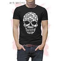 Чорна чоловіча футболка з малюнком SKULL BACKGROUND, фото 1