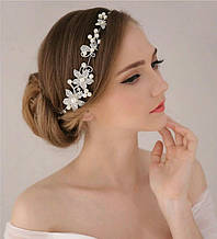 Гілочка, віночок під срібло в зачіску з квітами і перлами