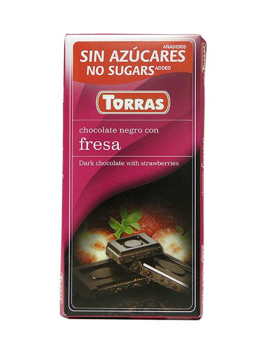 Черный шоколад Torras без сахара Chocolato Negro con Fresa (с клубникой), 75 г