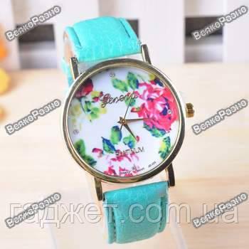 Часы женские Geneva Flower мятного цвета. Женские часы.