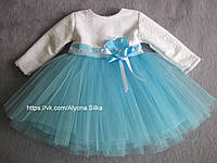 """Красивое бело-голубое платье """"Свежесть"""" на годик, два."""