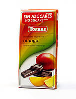Черный шоколад Torras без сахара Chocolato Negro con Mango (с манго), 75 г