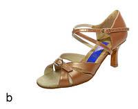 Туфли для танцев  женские Латина сатин бежевый 7 см 25р(39р).