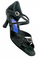 Туфли для танцев  женские Латина натуральная  сатин кожа черные с регулятором полноты.