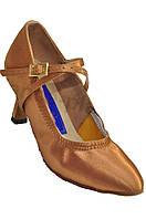 Туфли для танцев  женские Стандарт сатин бежевый каблук 5 или 7 см с регуляторами.