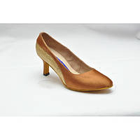 Туфли для танцев  женские Стандарт цвет бежевый сатин парча