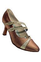 Туфли для танцев  женские Стандарт сатин натуральная кожа каблук 5 или 7 см цвет бежевый, черный.
