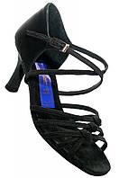 Туфли для танцев  женские Латина черный сатин узелки оригинальная модель 23,5 (37 р) в наличии!