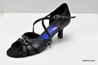 Туфли для танцев  женские Латина черная  натуральная кожа с регуляторами полноты