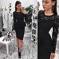 Женский красивый костюм блузка с баской + юбка (2 цвета)
