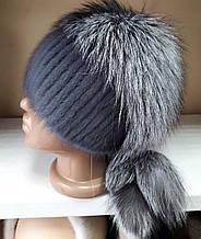 Меховая шапка из норки и чернобурки на вязанной  основе цвет ирис