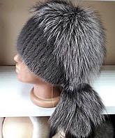 Меховая шапка из норки и чернобурки на вязанной  основе цвет кофейный