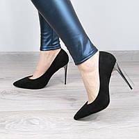 Туфли женские на шпильке Lady Star черный замш с серебром