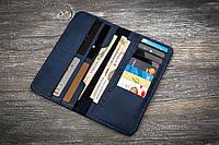 Синее кожаное портмоне ручной работы