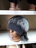 Меховая шапка из норки и чернобурки на вязанной основе, фото 4