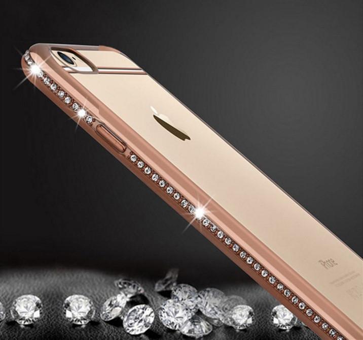 Силиконовый чехол для iPhone 5 5S SE ободок со стразами