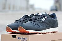 Мужские кроссовки Reebok Classic, темно-синие с бежевой подошвой