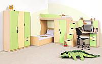 """Детская спальня """"Саванна"""" в комплекте шкаф, пенал, кровать, горка, лестница, стол письменный, тумба,"""