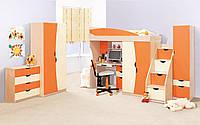 """Детская спальня """"Саванна"""" в комплекте шкаф, пенал, кровать, горка, лестница, стол письменный, тумба, полка."""