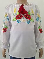 Блузка, украинская вышиванка из батиста  Злата для девочки белая