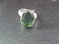 Кольцо -Зеленый натуральный аметист 10.90с,Ограненный овал 15 х 10 мм.Сертификат GTLI. ИНДИЯ ЭКСКЛЮЗИВ