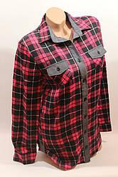 Стильная женская рубашка в клетку оптом байка+джинс малина-черный