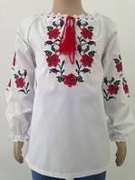 Блузка, украинская вышиванка льняная Любава  для девочки белая
