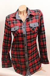 Стильная женская рубашка в клетку оптом байка+джинс красный-черный полос.