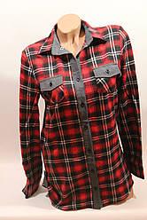 Стильная женская рубашка в клетку оптом байка+джинс красный-черный 2 полос.