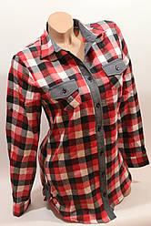 Стильная женская рубашка в клетку оптом байка+джинс бел-красный-черн.