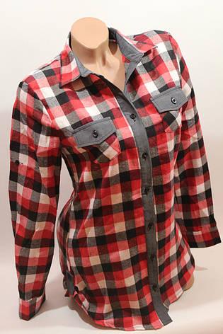 Стильная женская рубашка в клетку оптом байка+джинс бел-красный-черн., фото 2