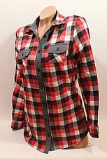 Стильная женская рубашка в клетку оптом байка+джинс бел-красный-черн., фото 3