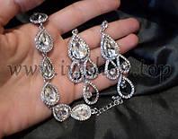 Комплект украшений под серебро: браслет и длинные серьги со стразами