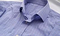 Mужская рубашка  голубая клетка Размер 16 Ворот 41 Котон