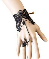 Браслет кружево готический черный с кольцом, фото 1