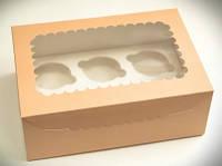 Коробка для капкейков персиковая, с окошком, на 6 кексов. мелованный картон