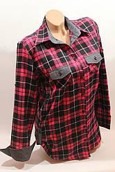 Стильная женская рубашка в клетку оптом байка+джинс 2 малина-черный