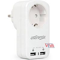 Сетевое зарядное устройство EnerGenie EG-ACU2-01-W 2A (со сквозной розеткой), фото 1