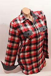 Стильная женская рубашка в клетку оптом байка+джинс 2 красный-белый-черный