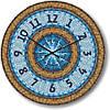 """Большие настенные часы """"Мозаичная лазурь"""" (450мм) [Стекло, Открытые]"""