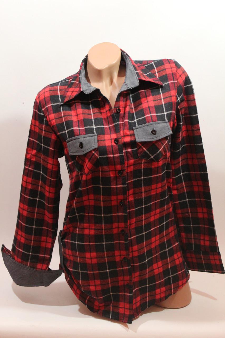 8d7ede60d9e Стильная женская рубашка в клетку оптом байка+джинс 2 красный-черный-полос.