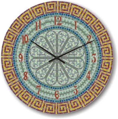 """Большие настенные часы """"Орнамент из мозайки"""" (450мм) [Стекло, Открытые]"""