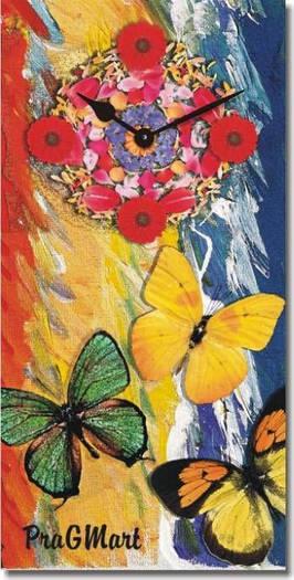 """Часы настенные """"Бабочки и цветы"""" (225х450мм) [Стекло, Открытые]"""